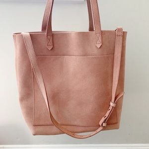 Madewell suede Medium Transport Tote in Blush